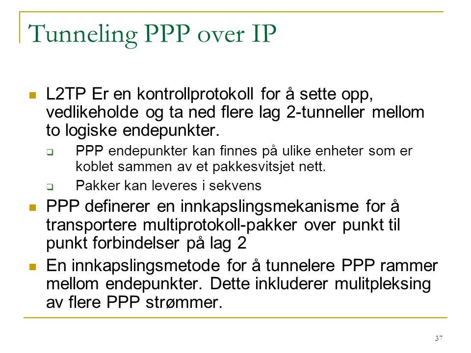 37 Tunneling PPP over IP L2TP Er en kontrollprotokoll for å sette opp, vedlikeholde og ta ned flere lag 2-tunneller mellom to logiske endepunkter.
