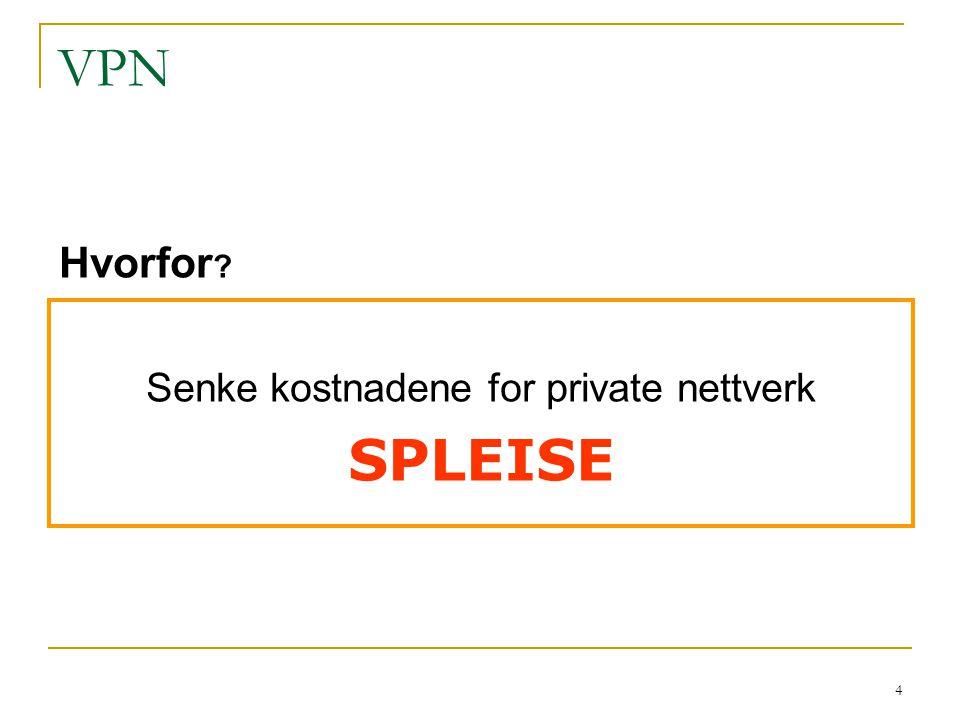 4 VPN Senke kostnadene for private nettverk SPLEISE Hvorfor ?