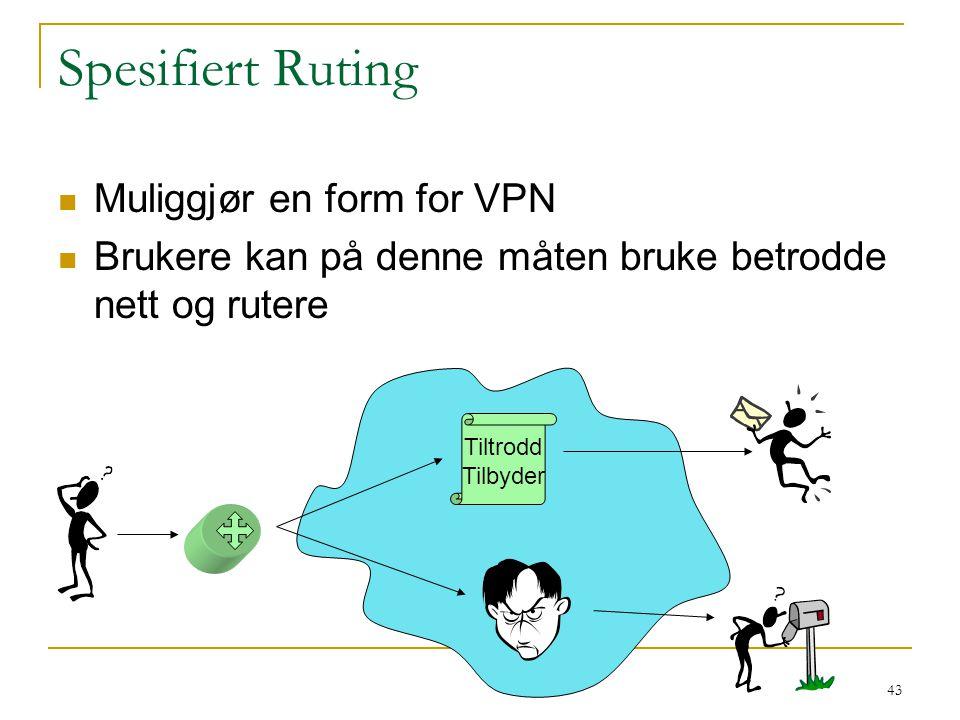 43 Spesifiert Ruting Muliggjør en form for VPN Brukere kan på denne måten bruke betrodde nett og rutere Tiltrodd Tilbyder