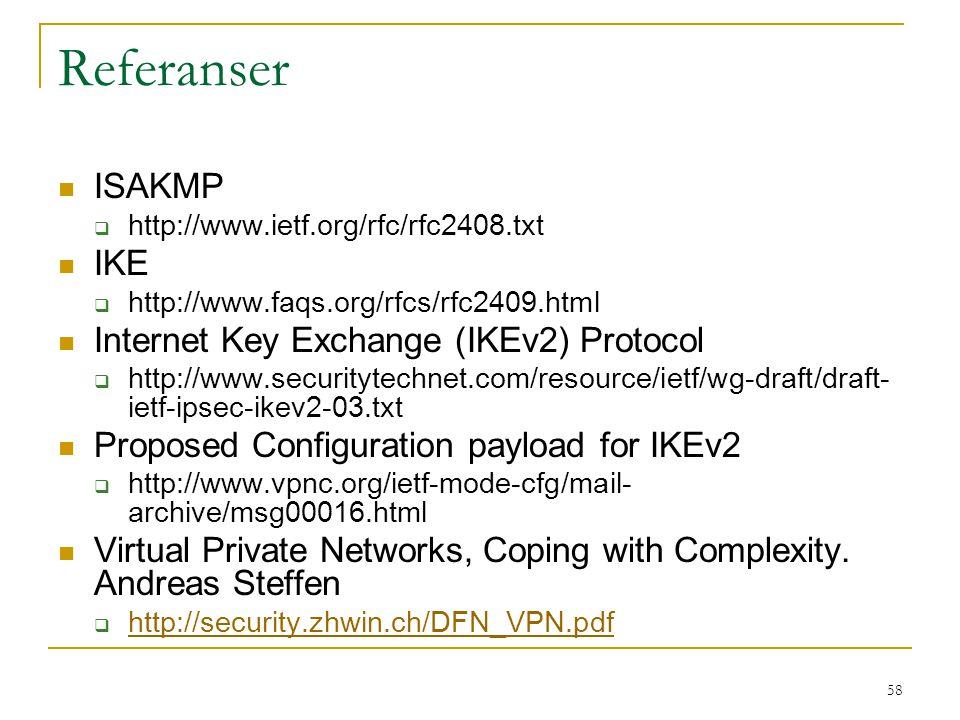 58 Referanser ISAKMP  http://www.ietf.org/rfc/rfc2408.txt IKE  http://www.faqs.org/rfcs/rfc2409.html Internet Key Exchange (IKEv2) Protocol  http:/