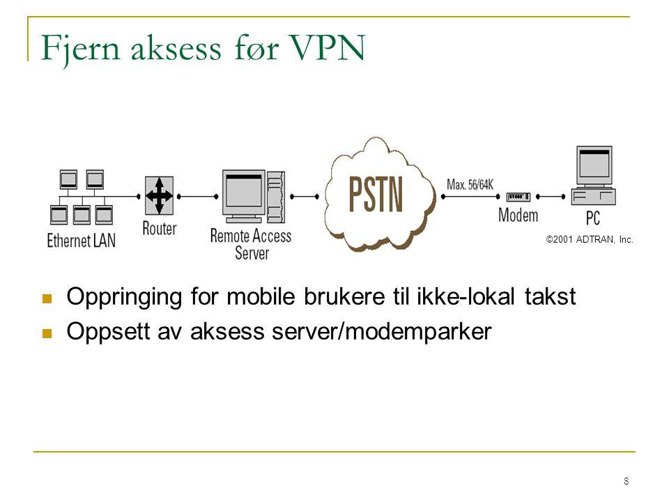 8 Fjern aksess før VPN Oppringing for mobile brukere til ikke-lokal takst Oppsett av aksess server/modemparker ©2001 ADTRAN, Inc.