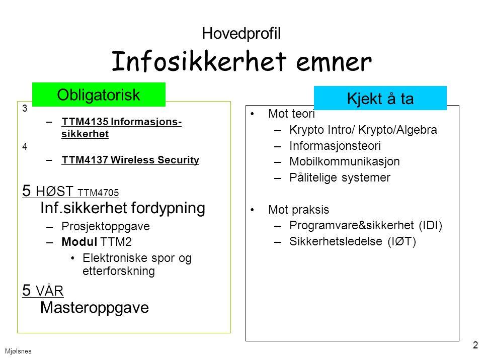 Mjølsnes 2 Hovedprofil Infosikkerhet emner 3 –TTM4135 Informasjons- sikkerhet 4 –TTM4137 Wireless Security 5 HØST TTM4705 Inf.sikkerhet fordypning –Pr