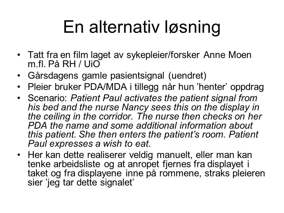 En alternativ løsning Tatt fra en film laget av sykepleier/forsker Anne Moen m.fl.