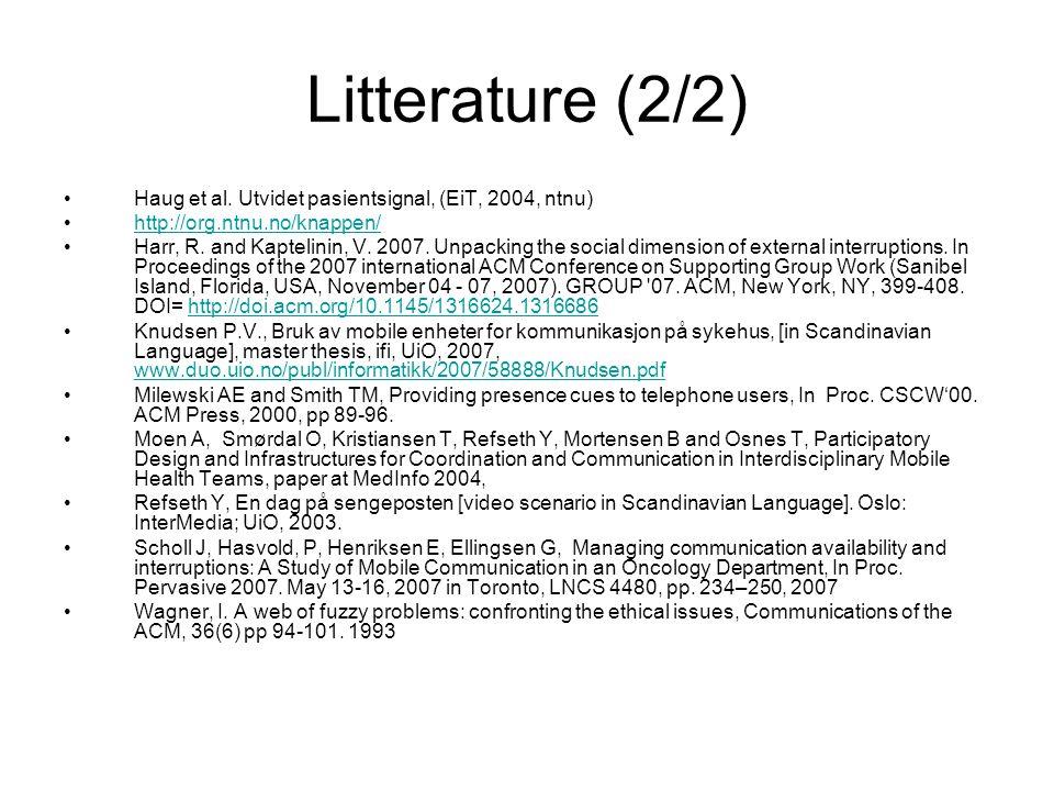Litterature (2/2) Haug et al.