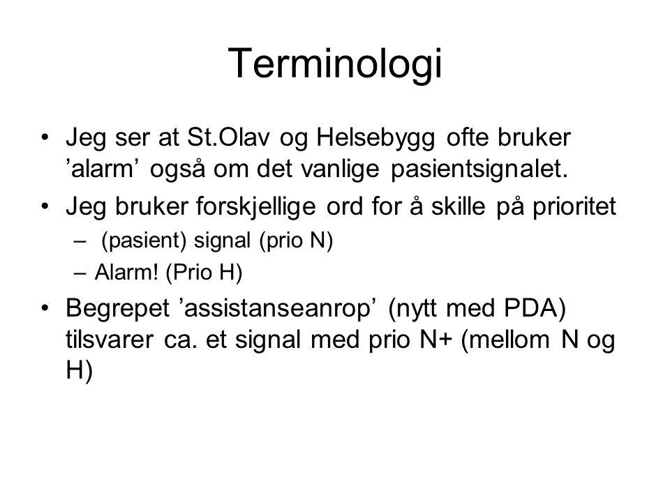 Terminologi Jeg ser at St.Olav og Helsebygg ofte bruker 'alarm' også om det vanlige pasientsignalet.