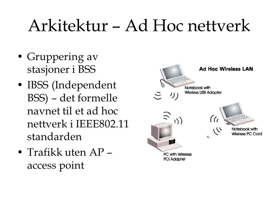 Arkitektur – Ad Hoc nettverk Gruppering av stasjoner i BSS IBSS (Independent BSS) – det formelle navnet til et ad hoc nettverk i IEEE802.11 standarden