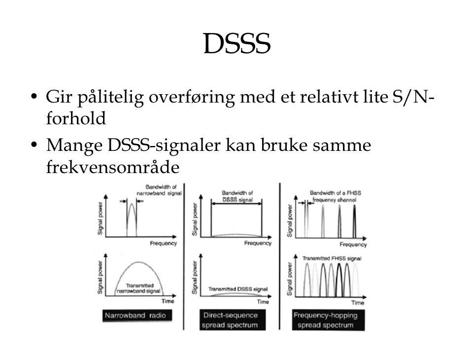 DSSS Gir pålitelig overføring med et relativt lite S/N- forhold Mange DSSS-signaler kan bruke samme frekvensområde