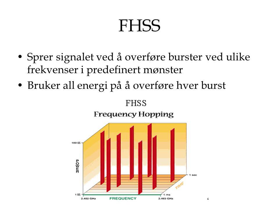 FHSS Sprer signalet ved å overføre burster ved ulike frekvenser i predefinert mønster Bruker all energi på å overføre hver burst