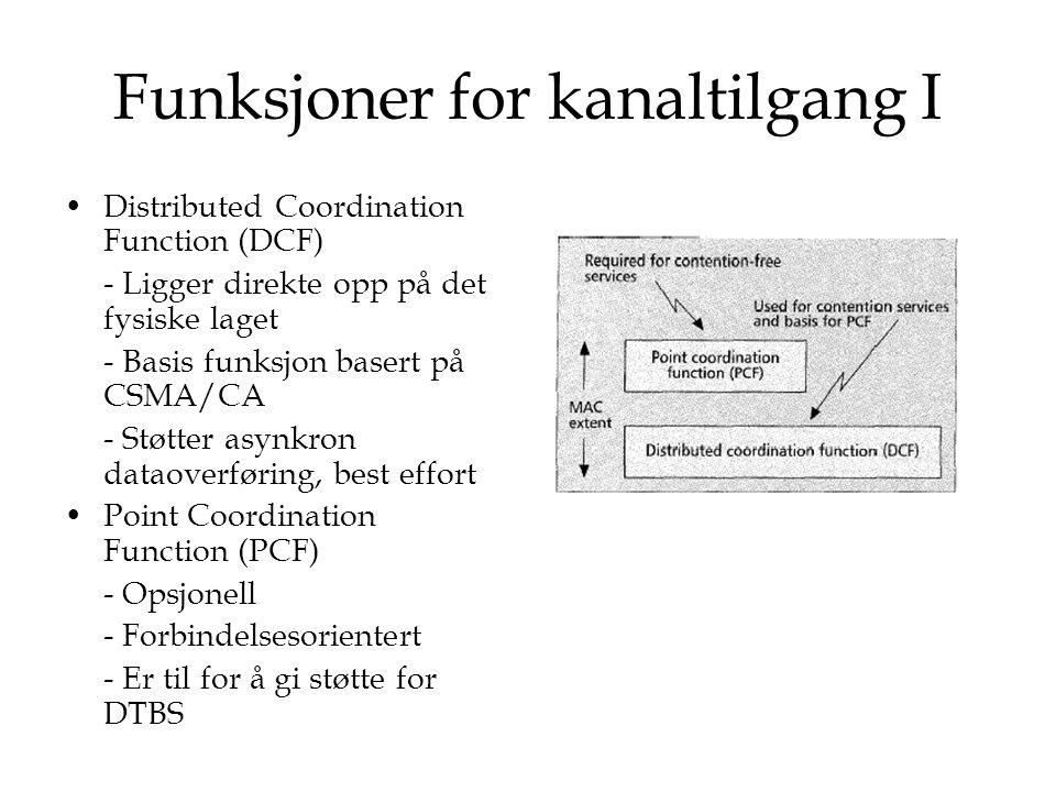 Funksjoner for kanaltilgang I Distributed Coordination Function (DCF) - Ligger direkte opp på det fysiske laget - Basis funksjon basert på CSMA/CA - S