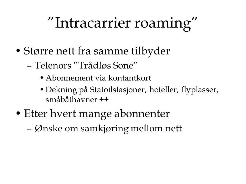 """""""Intracarrier roaming"""" Større nett fra samme tilbyder –Telenors """"Trådløs Sone"""" Abonnement via kontantkort Dekning på Statoilstasjoner, hoteller, flypl"""