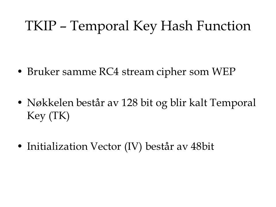TKIP – Temporal Key Hash Function Bruker samme RC4 stream cipher som WEP Nøkkelen består av 128 bit og blir kalt Temporal Key (TK) Initialization Vect