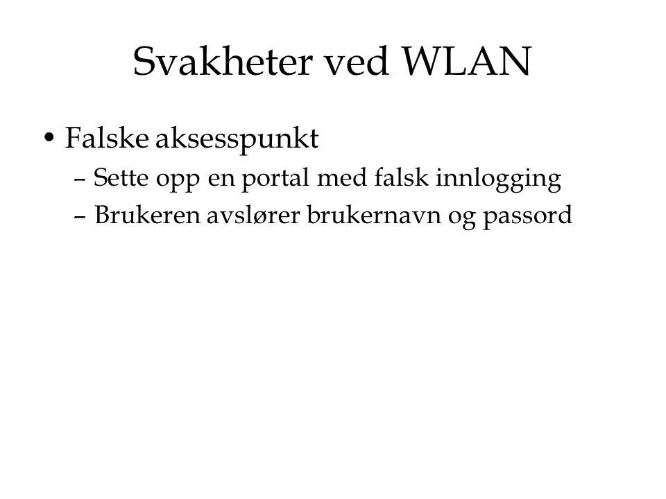 Svakheter ved WLAN Falske aksesspunkt –Sette opp en portal med falsk innlogging –Brukeren avslører brukernavn og passord
