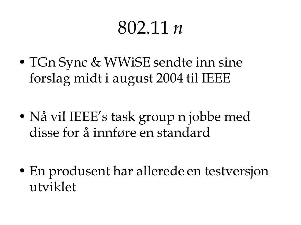 802.11 n TGn Sync & WWiSE sendte inn sine forslag midt i august 2004 til IEEE Nå vil IEEE's task group n jobbe med disse for å innføre en standard En