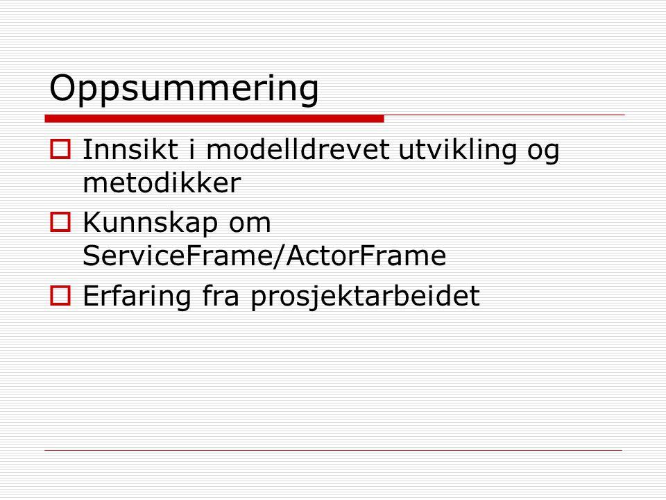 Oppsummering  Innsikt i modelldrevet utvikling og metodikker  Kunnskap om ServiceFrame/ActorFrame  Erfaring fra prosjektarbeidet