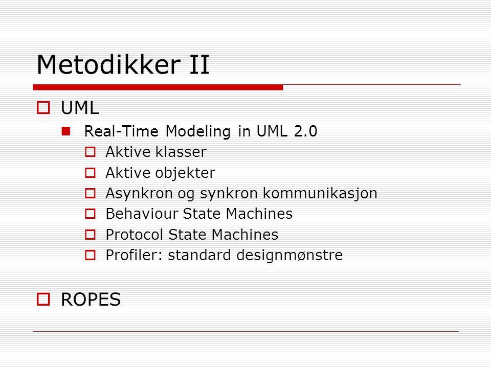Metodikker II  UML Real-Time Modeling in UML 2.0  Aktive klasser  Aktive objekter  Asynkron og synkron kommunikasjon  Behaviour State Machines 