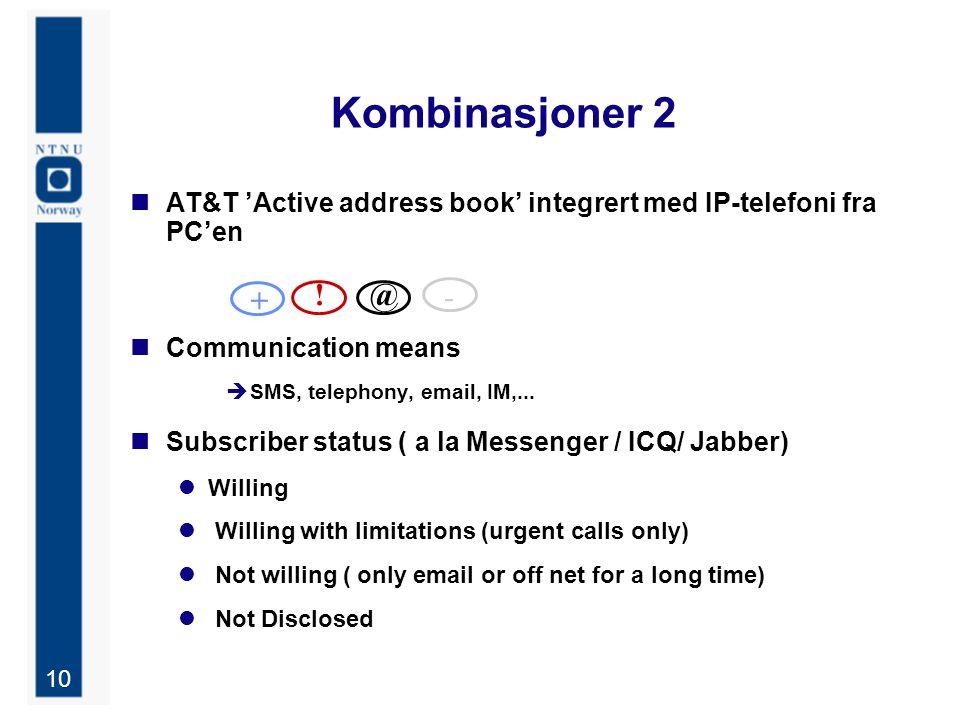 10 Kombinasjoner 2 AT&T 'Active address book' integrert med IP-telefoni fra PC'en Communication means  SMS, telephony, email, IM,...