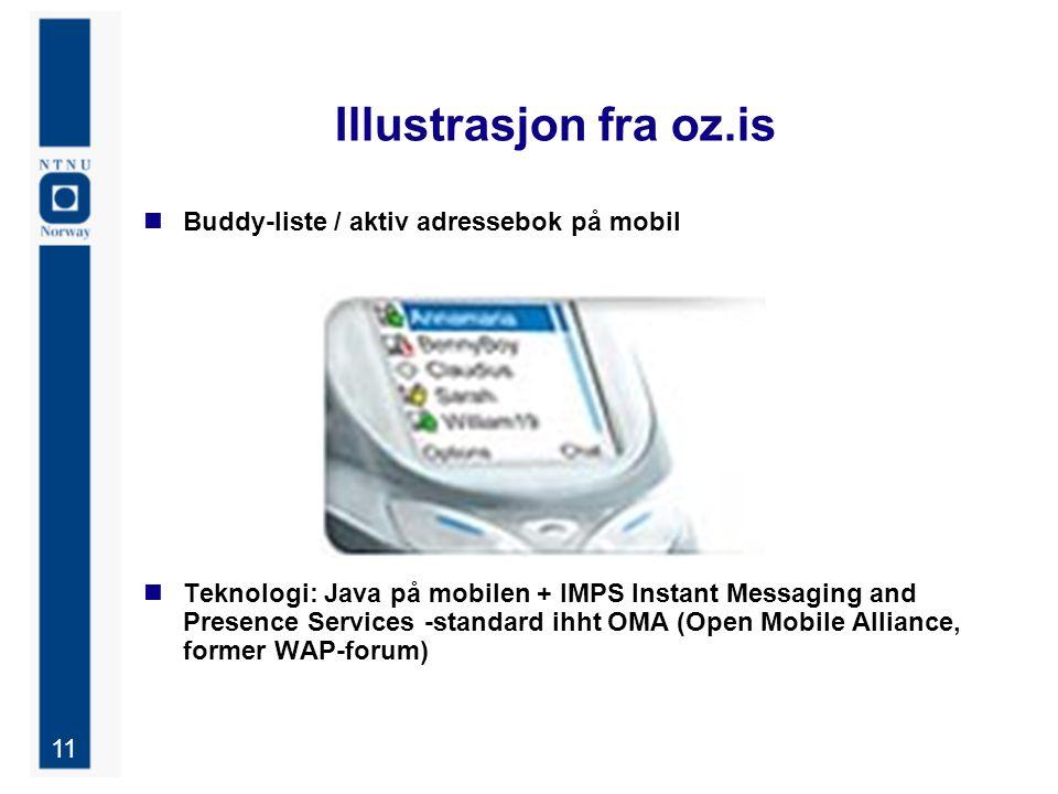 11 Illustrasjon fra oz.is Buddy-liste / aktiv adressebok på mobil Teknologi: Java på mobilen + IMPS Instant Messaging and Presence Services -standard ihht OMA (Open Mobile Alliance, former WAP-forum)