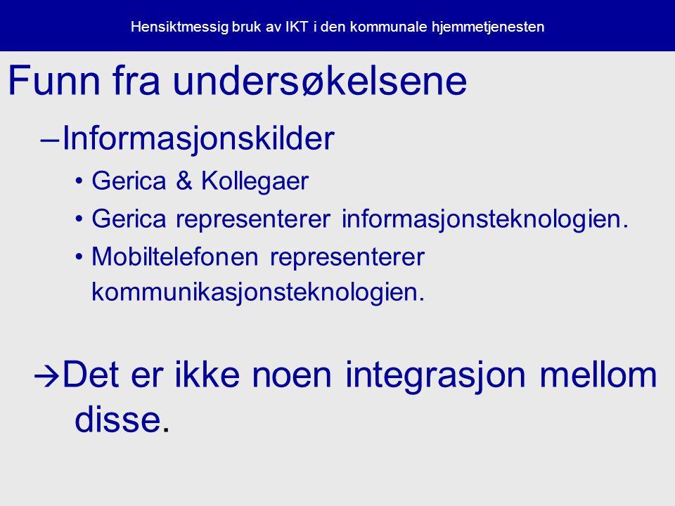 Hensiktmessig bruk av IKT i den kommunale hjemmetjenesten Funn fra undersøkelsene –Informasjonskilder Gerica & Kollegaer Gerica representerer informasjonsteknologien.