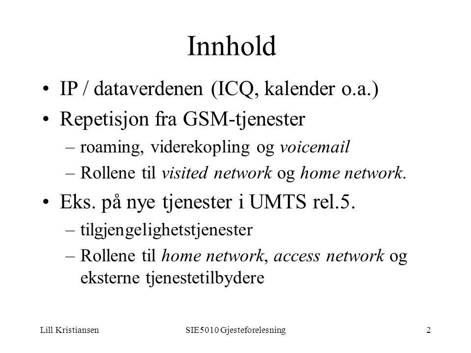 Lill KristiansenSIE5010 Gjesteforelesning2 IP / dataverdenen (ICQ, kalender o.a.) Repetisjon fra GSM-tjenester –roaming, viderekopling og voicemail –Rollene til visited network og home network.