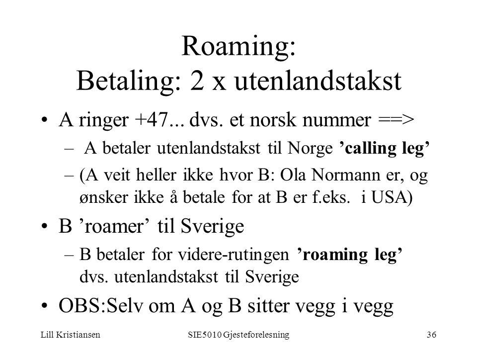 Lill KristiansenSIE5010 Gjesteforelesning36 Roaming: Betaling: 2 x utenlandstakst A ringer +47...
