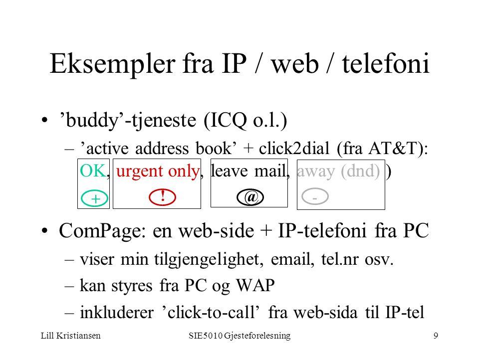 Lill KristiansenSIE5010 Gjesteforelesning9 Eksempler fra IP / web / telefoni 'buddy'-tjeneste (ICQ o.l.) –'active address book' + click2dial (fra AT&T): OK, urgent only, leave mail, away (dnd) ) ComPage: en web-side + IP-telefoni fra PC –viser min tilgjengelighet, email, tel.nr osv.