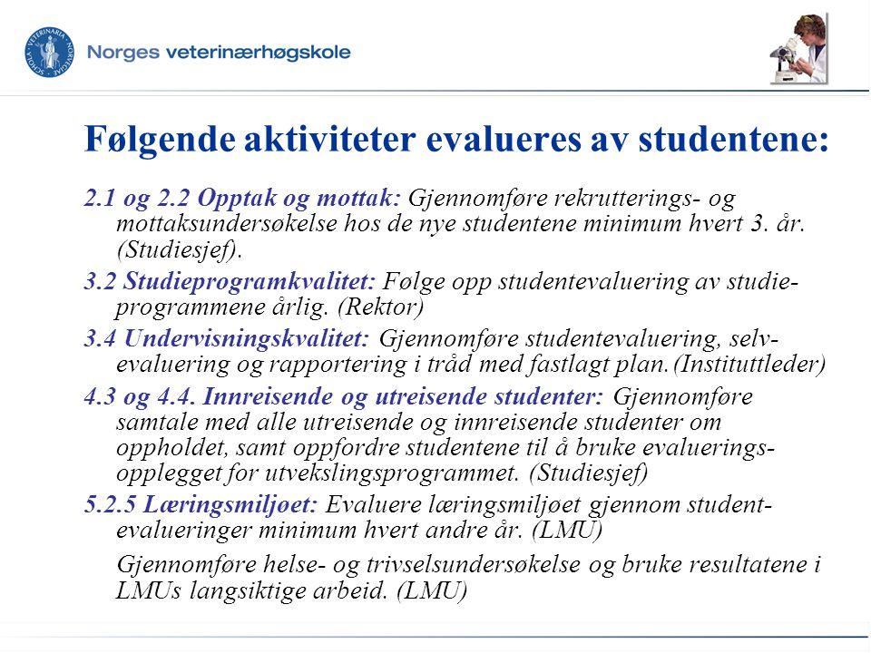 Følgende aktiviteter evalueres av studentene: 2.1 og 2.2 Opptak og mottak: Gjennomføre rekrutterings- og mottaksundersøkelse hos de nye studentene minimum hvert 3.