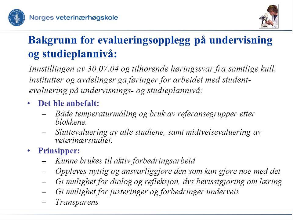 Bakgrunn for evalueringsopplegg på undervisning og studieplannivå: Det ble anbefalt: –Både temperaturmåling og bruk av referansegrupper etter blokkene.