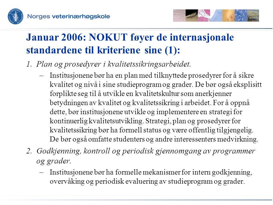 Januar 2006: NOKUT føyer de internasjonale standardene til kriteriene sine (1): 1.Plan og prosedyrer i kvalitetssikringsarbeidet. –Institusjonene bør
