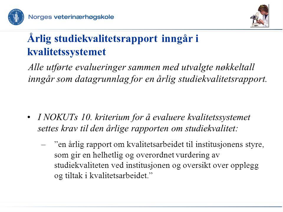 Årlig studiekvalitetsrapport inngår i kvalitetssystemet I NOKUTs 10.