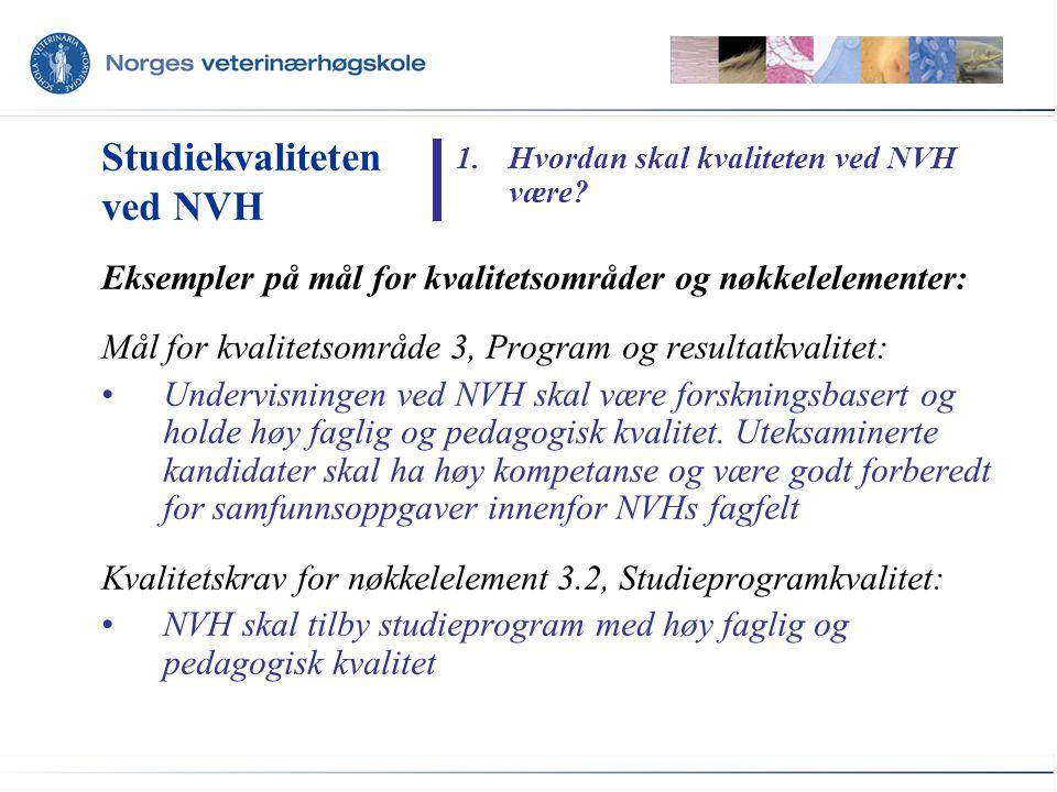 Eksempler på mål for kvalitetsområder og nøkkelelementer: Mål for kvalitetsområde 3, Program og resultatkvalitet: Undervisningen ved NVH skal være forskningsbasert og holde høy faglig og pedagogisk kvalitet.