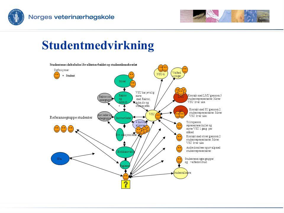 NVHs visjon Å være blant de fremste veterinærmedisinske utdanningsinstitusjonene i Europa Mål for kvalitetsarbeidet Kvalitetsarbeidets fremste oppgave er å bidra til at NVHs høye mål om kvalitet nås Å optimalisere studiekvaliteten gjennom aktivt å bruke kvalitetssystemet til forbedring og utvikling Sikre at studietilbudene ved NVH har samfunnsrelevans i vid forstand
