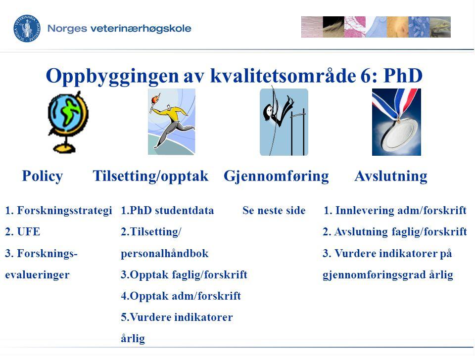Oppbyggingen av kvalitetsområde 6: PhD Nøkkelelement 3.