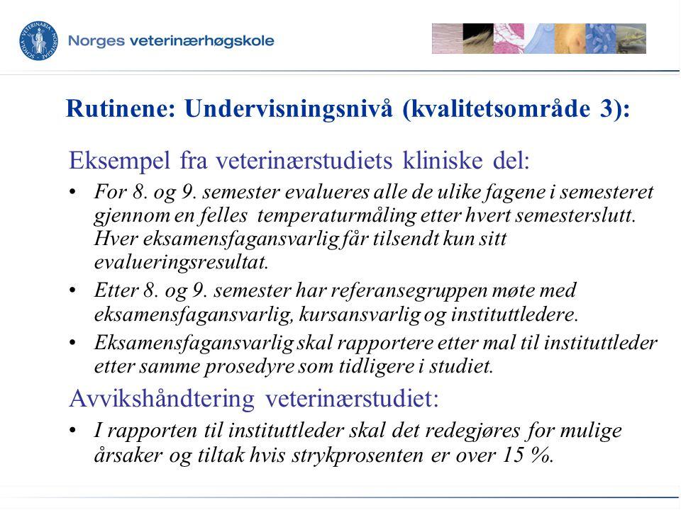 Rutinene: Undervisningsnivå (kvalitetsområde 3): Eksempel fra veterinærstudiets kliniske del: For 8.