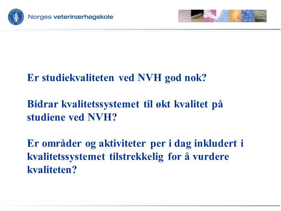 Er studiekvaliteten ved NVH god nok. Bidrar kvalitetssystemet til økt kvalitet på studiene ved NVH.