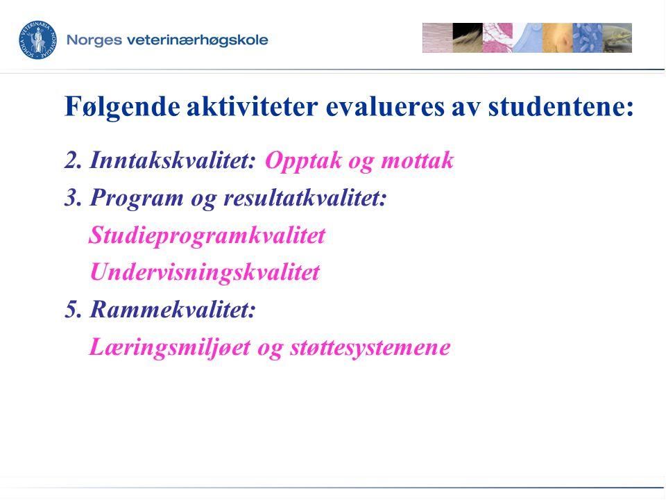 Følgende aktiviteter evalueres av studentene: 2. Inntakskvalitet: Opptak og mottak 3.