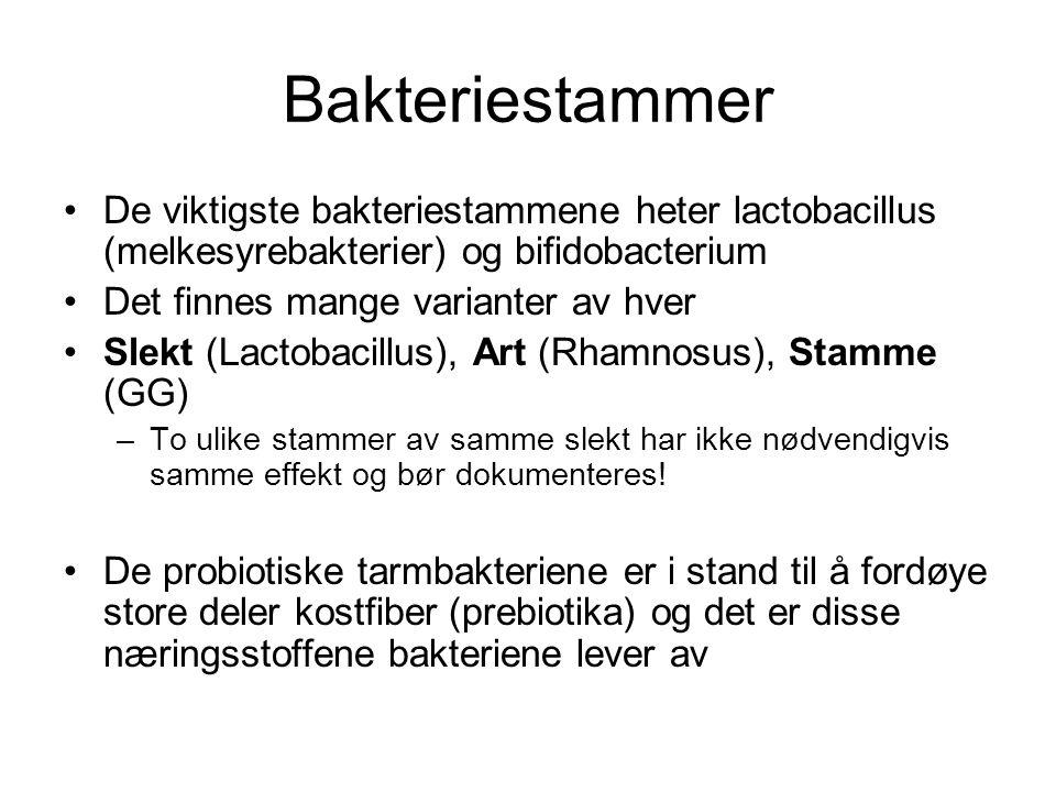 Bakteriestammer De viktigste bakteriestammene heter lactobacillus (melkesyrebakterier) og bifidobacterium Det finnes mange varianter av hver Slekt (La