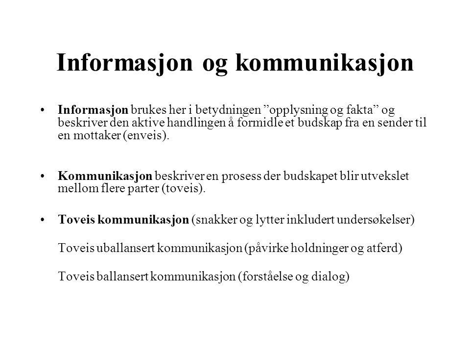 Informasjon og kommunikasjon Informasjon brukes her i betydningen opplysning og fakta og beskriver den aktive handlingen å formidle et budskap fra en sender til en mottaker (enveis).