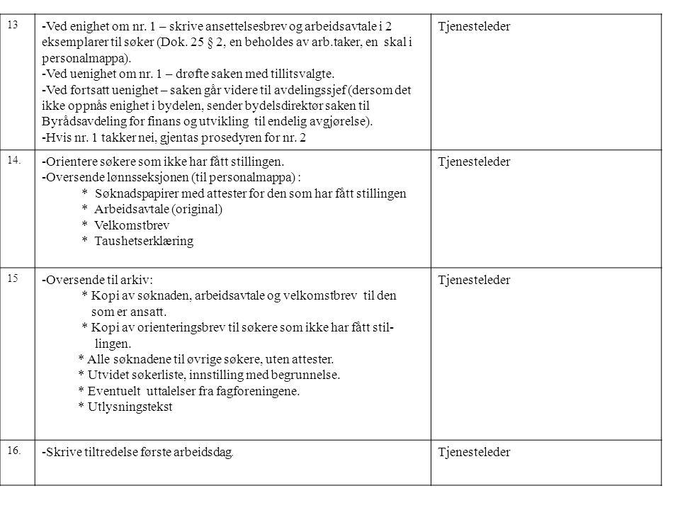 13 -Ved enighet om nr. 1 – skrive ansettelsesbrev og arbeidsavtale i 2 eksemplarer til søker (Dok. 25 § 2, en beholdes av arb.taker, en skal i persona