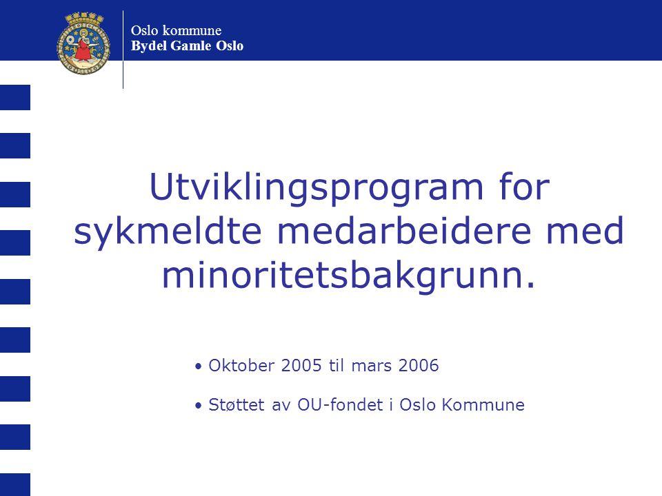 Utviklingsprogram for sykmeldte medarbeidere med minoritetsbakgrunn. Oktober 2005 til mars 2006 Støttet av OU-fondet i Oslo Kommune Oslo kommune Bydel