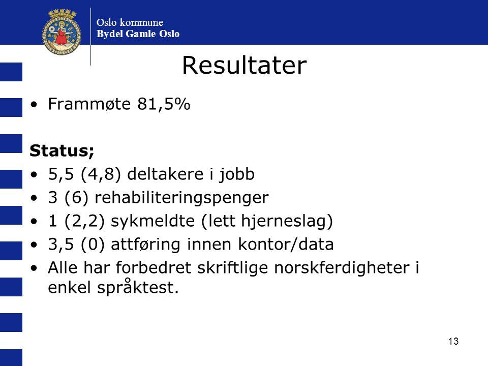 13 Resultater Frammøte 81,5% Status; 5,5 (4,8) deltakere i jobb 3 (6) rehabiliteringspenger 1 (2,2) sykmeldte (lett hjerneslag) 3,5 (0) attføring inne