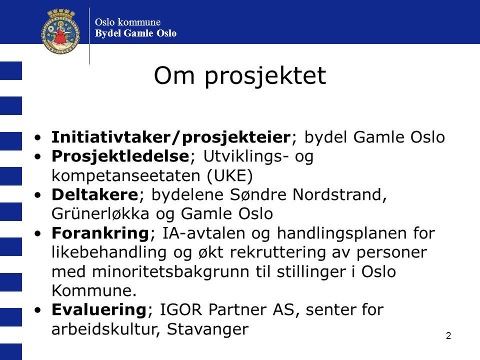 2 Initiativtaker/prosjekteier; bydel Gamle Oslo Prosjektledelse; Utviklings- og kompetanseetaten (UKE) Deltakere; bydelene Søndre Nordstrand, Grünerlø