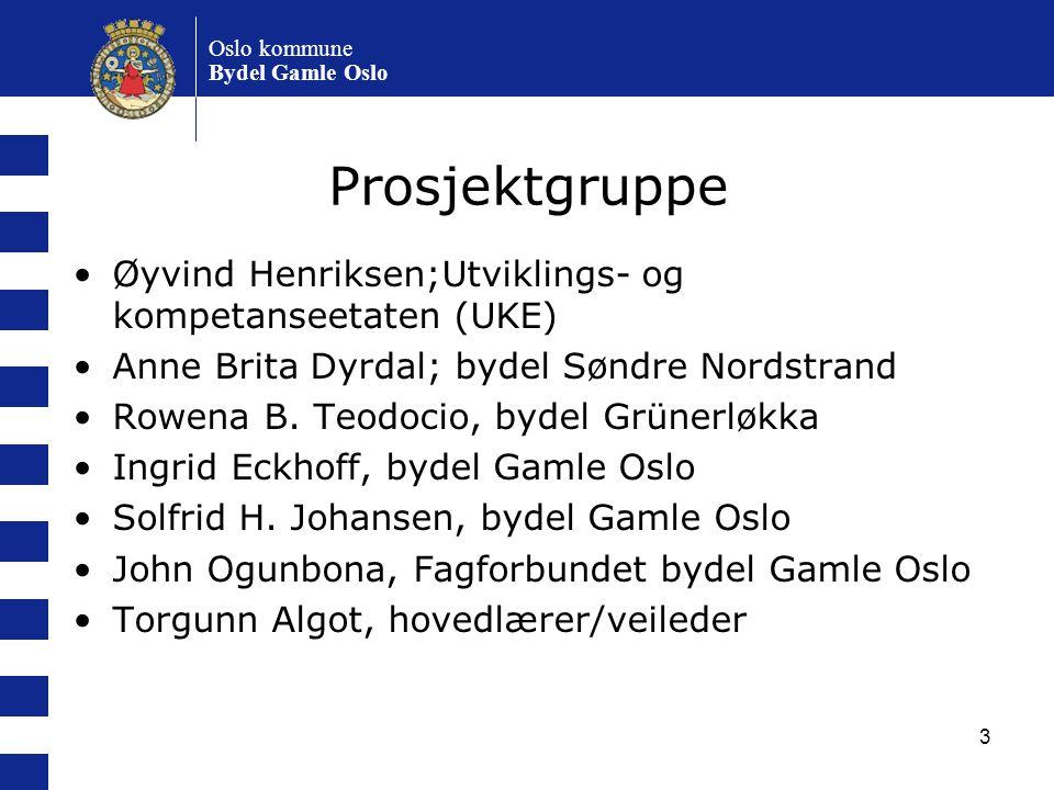 3 Oslo kommune Bydel Gamle Oslo Prosjektgruppe Øyvind Henriksen;Utviklings- og kompetanseetaten (UKE) Anne Brita Dyrdal; bydel Søndre Nordstrand Rowen