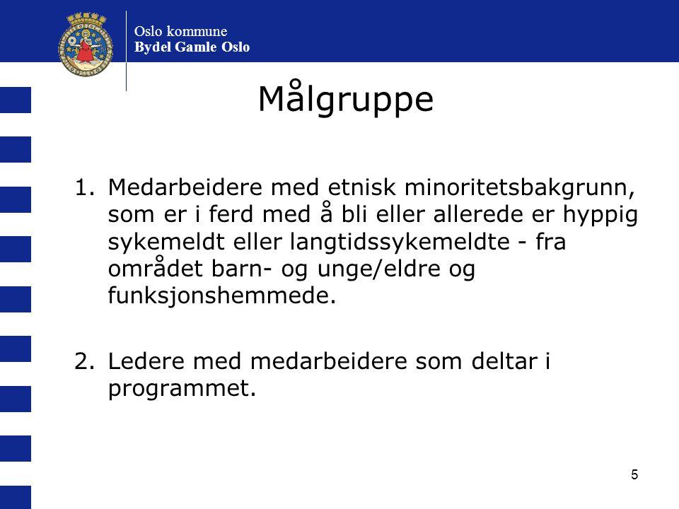 5 Oslo kommune Bydel Gamle Oslo Målgruppe 1.Medarbeidere med etnisk minoritetsbakgrunn, som er i ferd med å bli eller allerede er hyppig sykemeldt ell