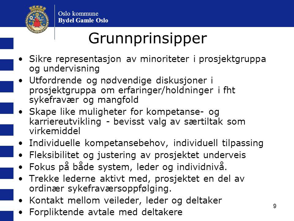 9 Oslo kommune Bydel Gamle Oslo Grunnprinsipper Sikre representasjon av minoriteter i prosjektgruppa og undervisning Utfordrende og nødvendige diskusj
