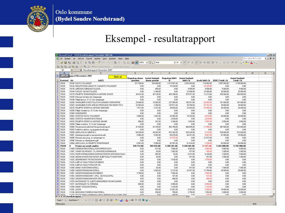 Oslo kommune (Bydel Søndre Nordstrand) Eksempel - prognoserapport