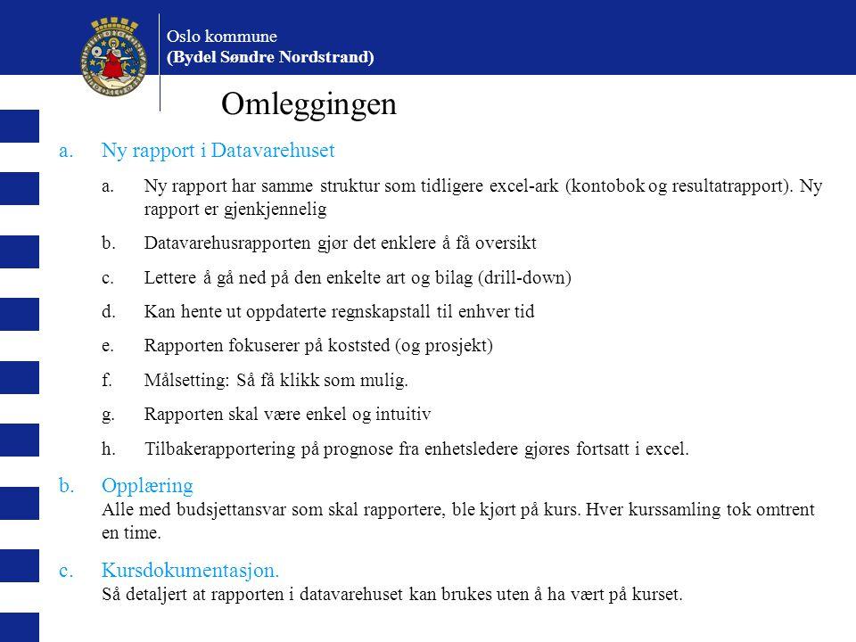 Oslo kommune (Bydel Søndre Nordstrand) Omleggingen a.Ny rapport i Datavarehuset a.Ny rapport har samme struktur som tidligere excel-ark (kontobok og resultatrapport).