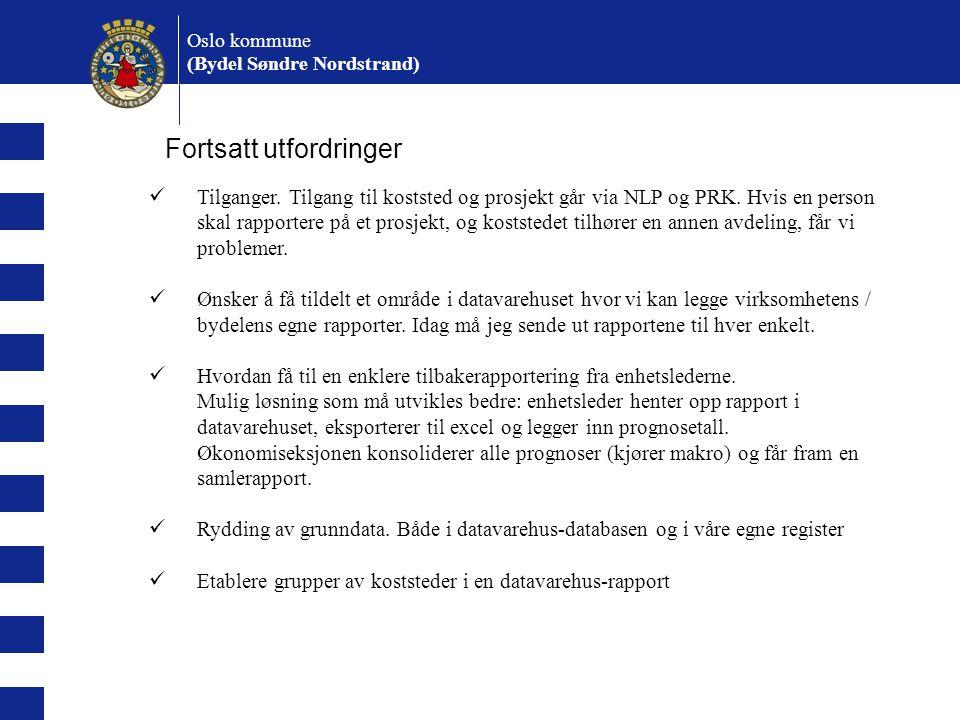 Oslo kommune (Bydel Søndre Nordstrand) Fortsatt utfordringer Tilganger. Tilgang til koststed og prosjekt går via NLP og PRK. Hvis en person skal rappo