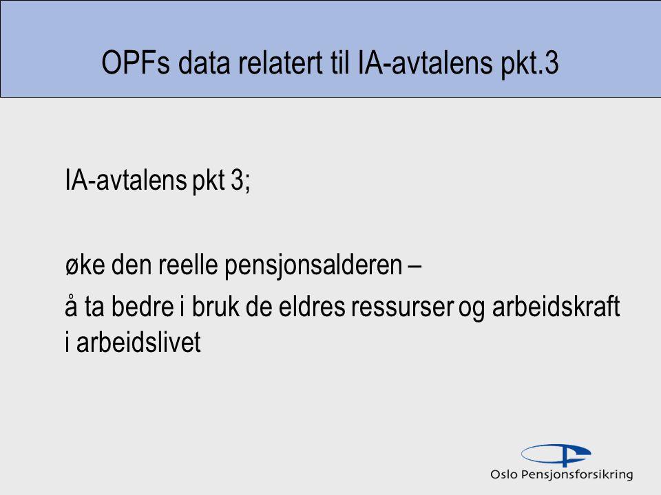 OPFs data relatert til IA-avtalens pkt.3 IA-avtalens pkt 3; øke den reelle pensjonsalderen – å ta bedre i bruk de eldres ressurser og arbeidskraft i arbeidslivet