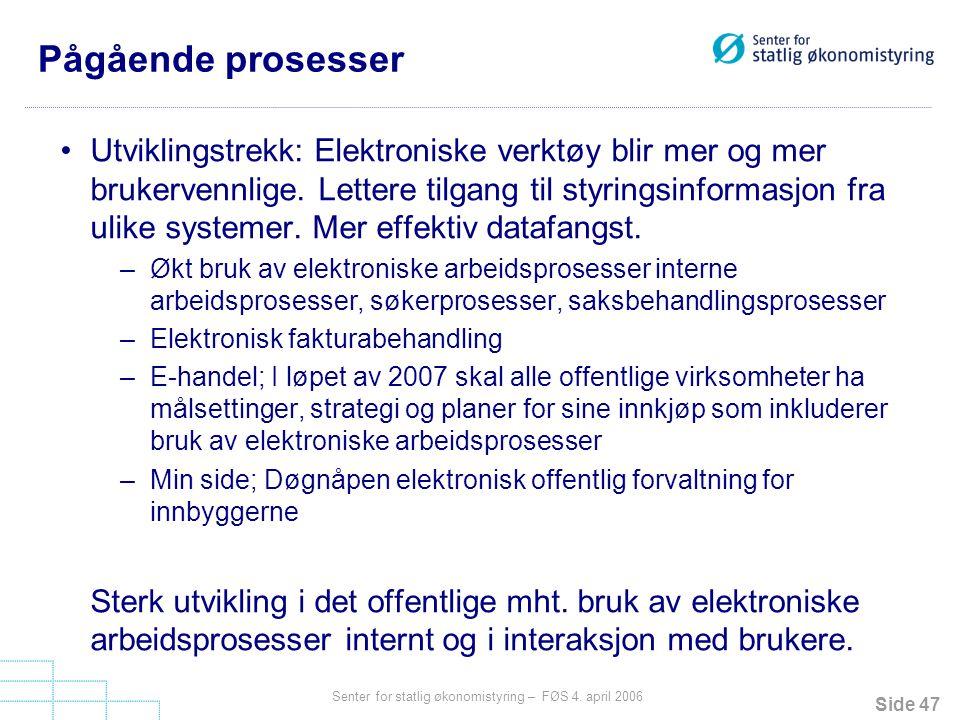 Side 47 Senter for statlig økonomistyring – FØS 4. april 2006 Pågående prosesser Utviklingstrekk: Elektroniske verktøy blir mer og mer brukervennlige.