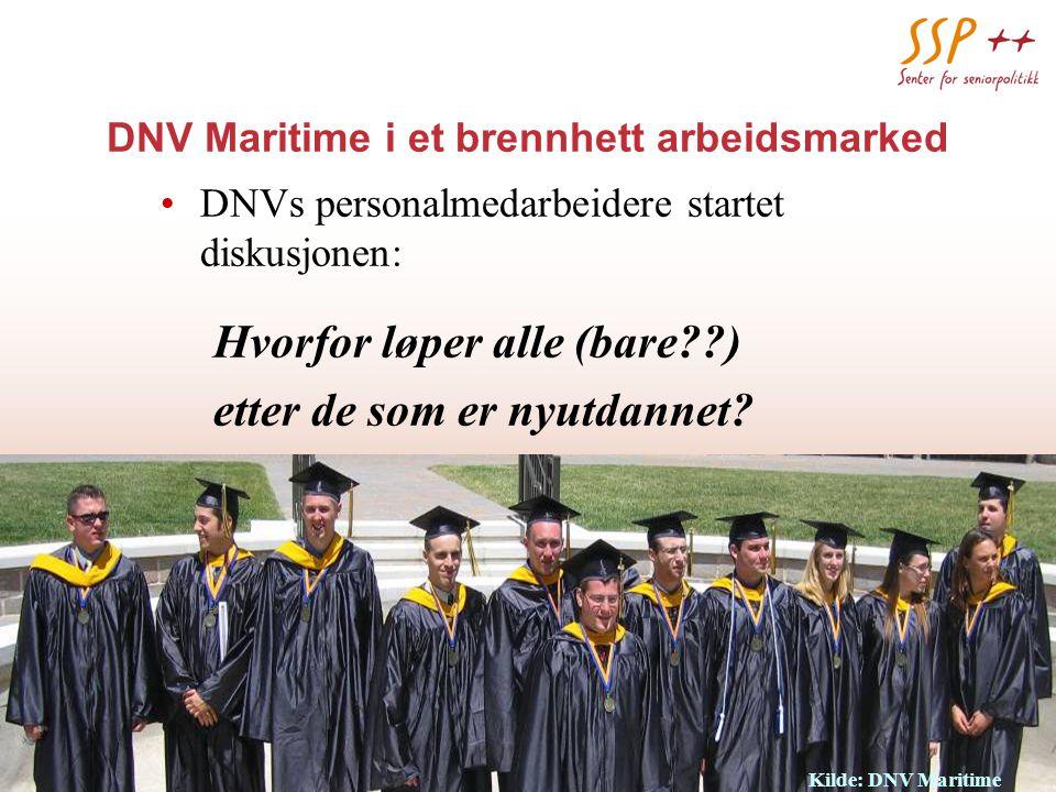 www.seniorpolitikk.no 12 DNV Maritime i et brennhett arbeidsmarked DNVs personalmedarbeidere startet diskusjonen: Hvorfor løper alle (bare ) etter de som er nyutdannet.